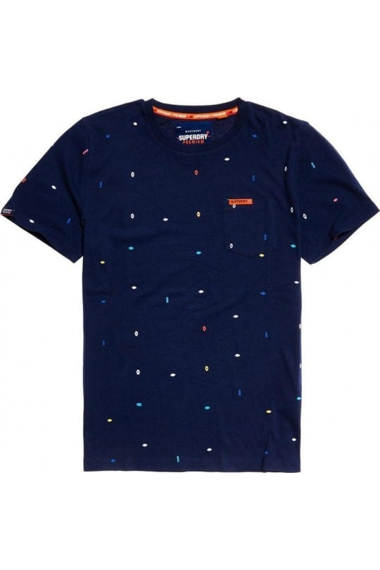 T-SHIRT SUPER DRY ΜΠΛΕ ΜΕ ΤΥΠΩΜΑ ALL OVER
