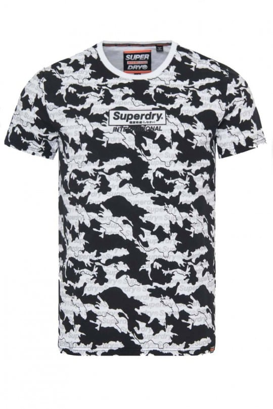 T-SHIRT SUPER DRY ΛΕΥΚΟ ΜΕ ΤΥΠΩΜΑ ALL OVER